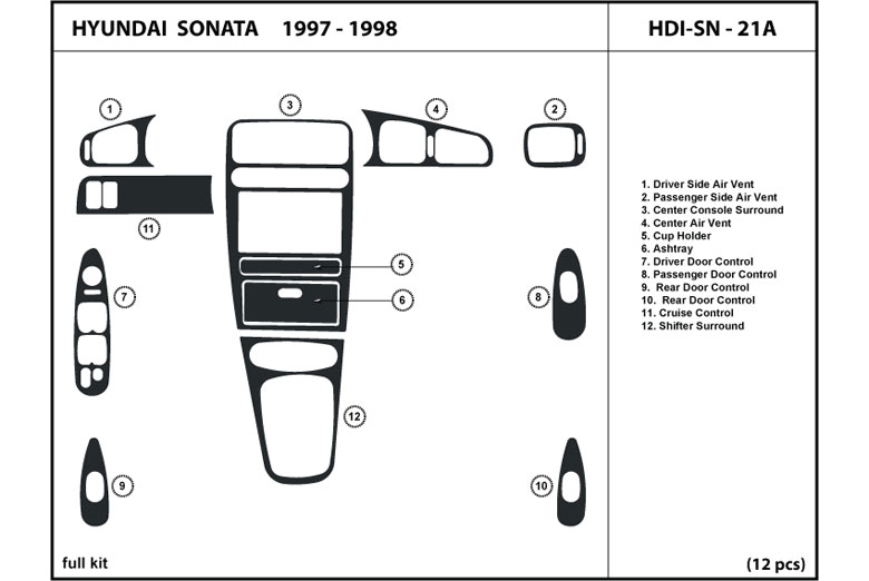 1997 Hyundai Sonata DL Auto Dash Kit Diagram