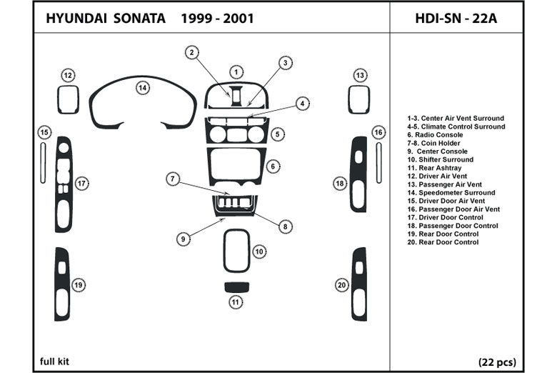 Dash Kit Trim for 2002-2005 Sonata with automatic transmission HDI-SN-23B 22 pcs