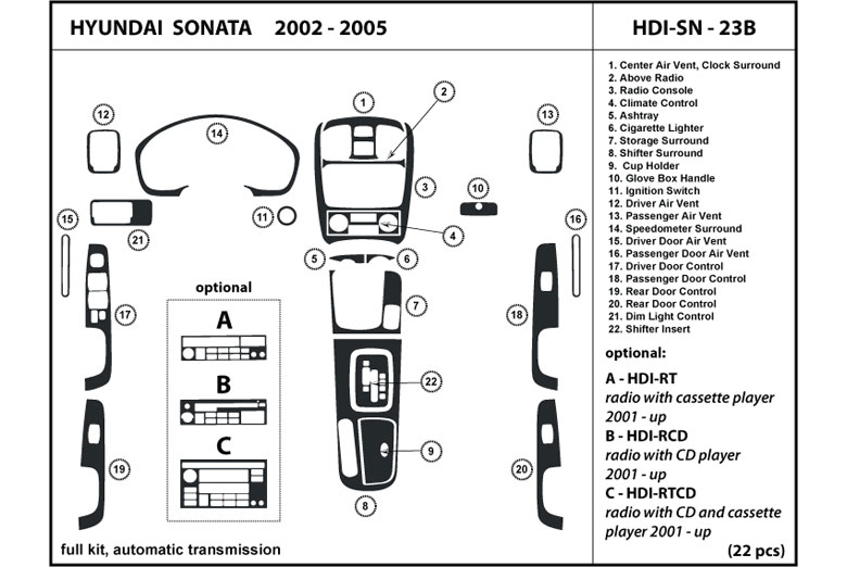 2004 Hyundai Sonata DL Auto Dash Kit Diagram