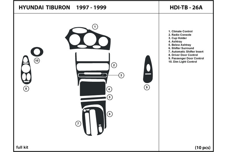 1998 Hyundai Tiburon DL Auto Dash Kit Diagram