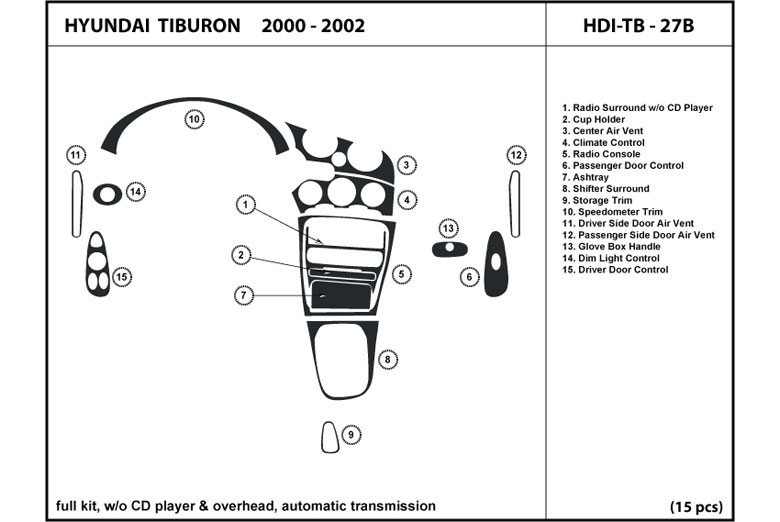 2000 Hyundai Tiburon DL Auto Dash Kit Diagram