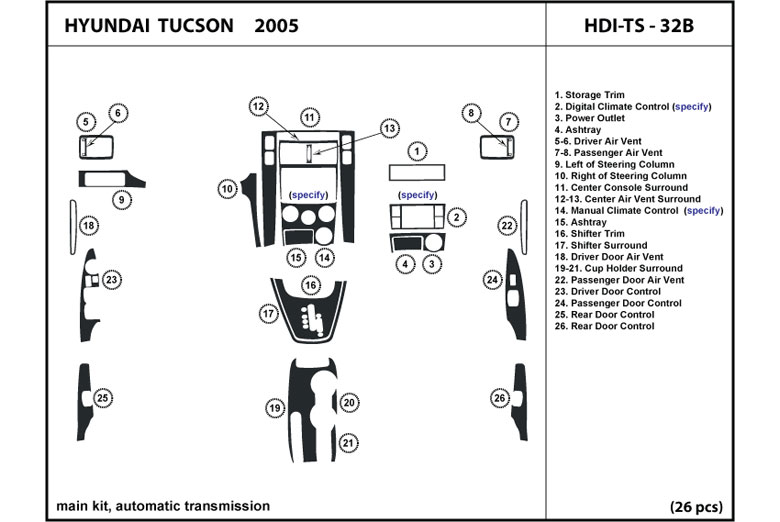 2005 Hyundai Tucson DL Auto Dash Kit Diagram