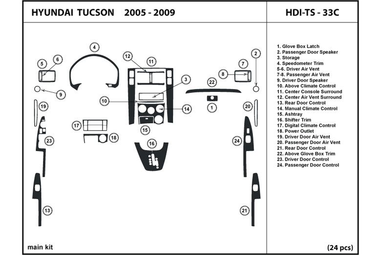 2006 Hyundai Tucson DL Auto Dash Kit Diagram