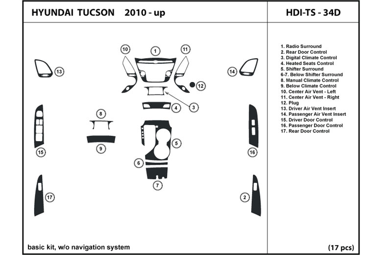 2010 Hyundai Tucson DL Auto Dash Kit Diagram