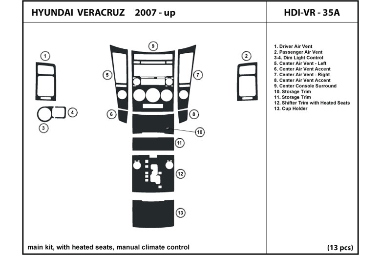 2008 Hyundai Veracruz DL Auto Dash Kit Diagram