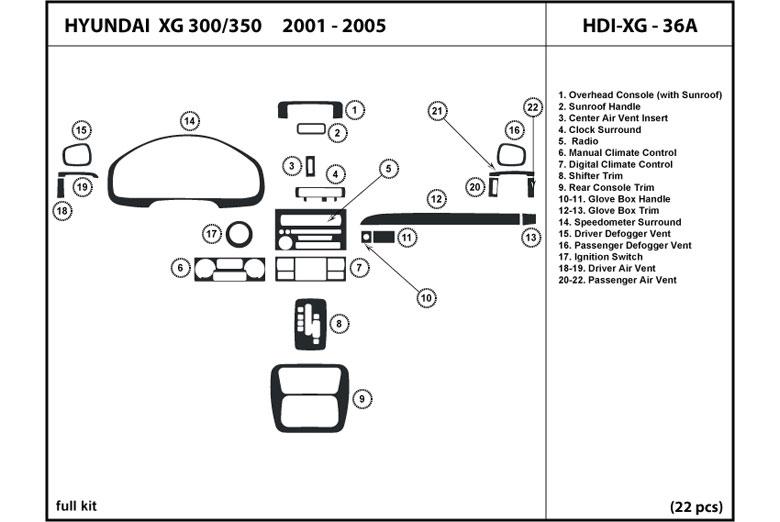 Dl Auto U00ae Hyundai Xg300 2001 Dash Kits