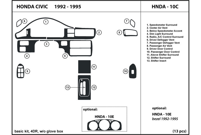 1994 Honda Civic DL Auto Dash Kit Diagram