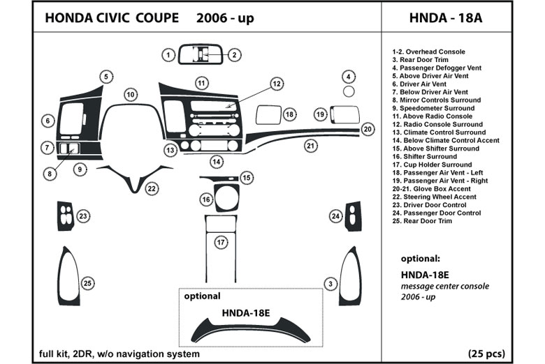 2011 Honda Civic DL Auto Dash Kit Diagram
