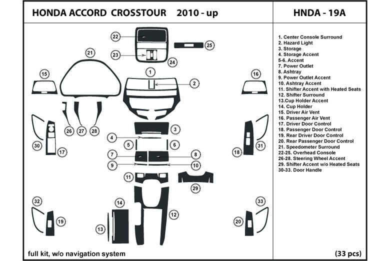 2011 Honda Accord DL Auto Dash Kit Diagram