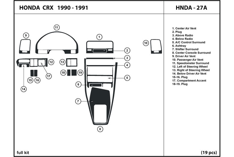 1990 Honda CRX DL Auto Dash Kit Diagram