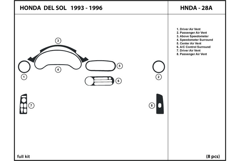 1993 Honda Del Sol DL Auto Dash Kit Diagram