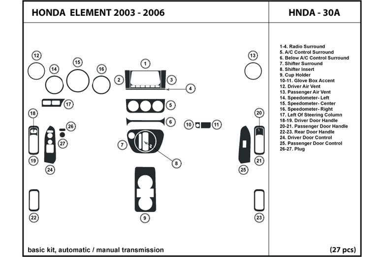 2004 Honda Element DL Auto Dash Kit Diagram