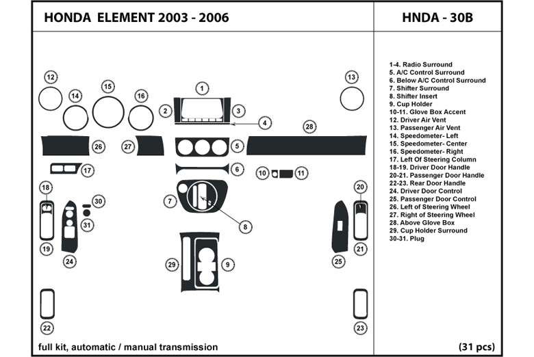 2003 Honda Element DL Auto Dash Kit Diagram