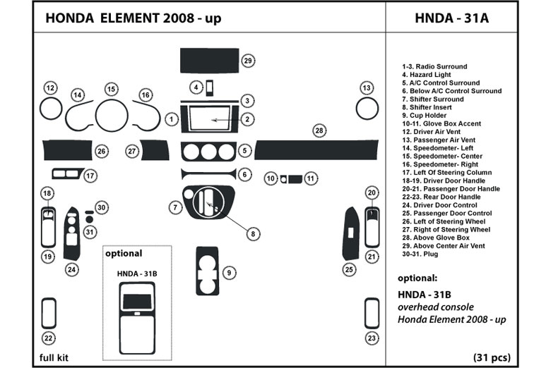 2009 Honda Element DL Auto Dash Kit Diagram