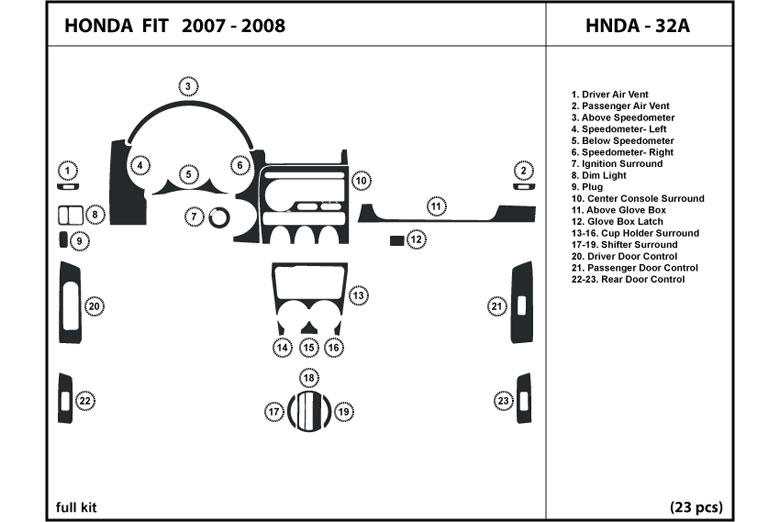 2007 Honda Fit DL Auto Dash Kit Diagram