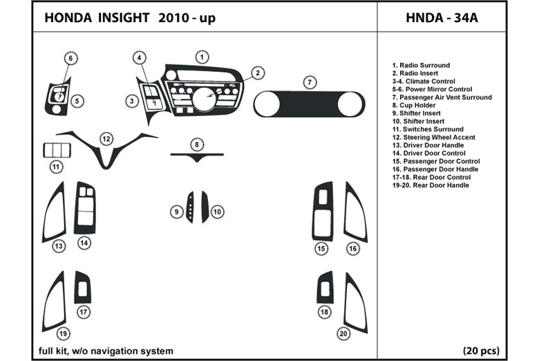 2011 Honda Insight DL Auto Dash Kit Diagram