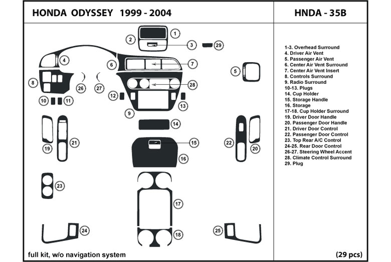 2003 Honda Odyssey DL Auto Dash Kit Diagram