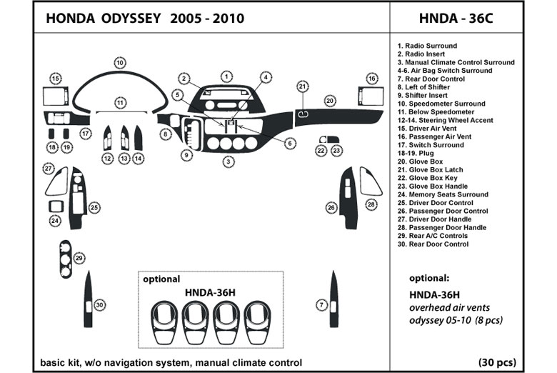 2010 Honda Odyssey DL Auto Dash Kit Diagram