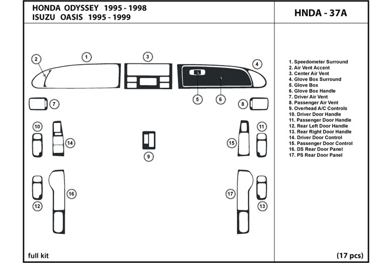 1997 Honda Odyssey DL Auto Dash Kit Diagram