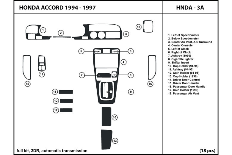 1995 Honda Accord DL Auto Dash Kit Diagram