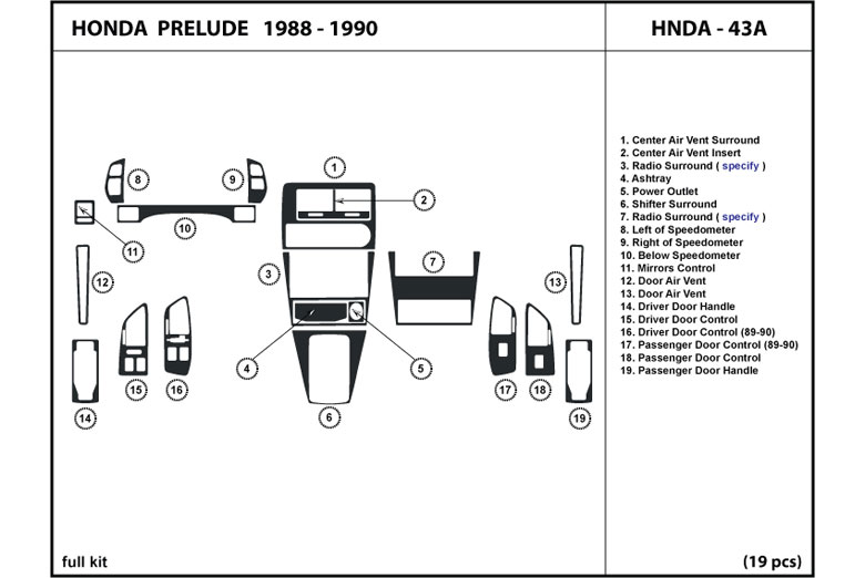 1989 Honda Prelude DL Auto Dash Kit Diagram