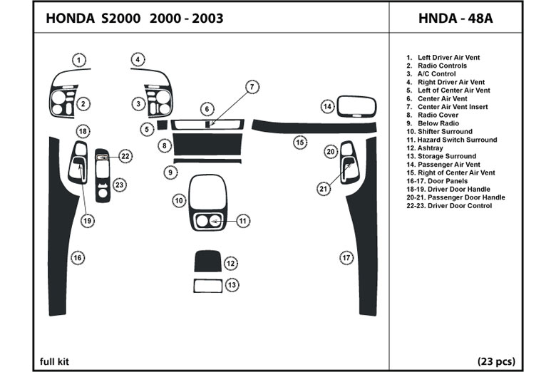 2002 Honda S2000 DL Auto Dash Kit Diagram
