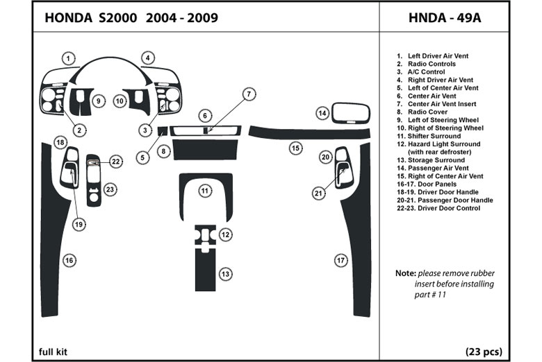 2004 Honda S2000 DL Auto Dash Kit Diagram