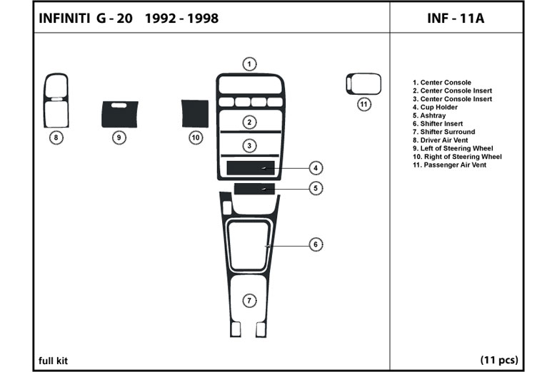 1992 Infiniti G20 DL Auto Dash Kit Diagram