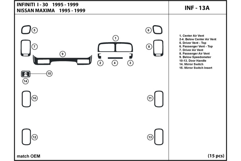 1995 Nissan Maxima DL Auto Dash Kit Diagram