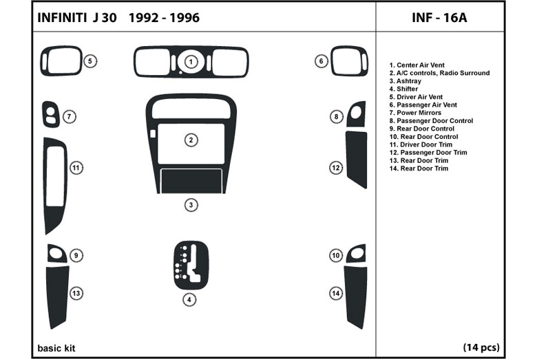 1993 Infiniti J30 DL Auto Dash Kit Diagram