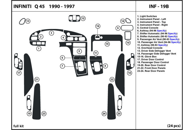 1990 Infiniti Q45 DL Auto Dash Kit Diagram
