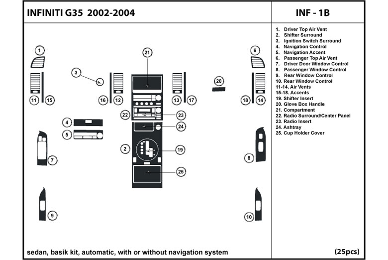 2003 Infiniti G35 DL Auto Dash Kit Diagram