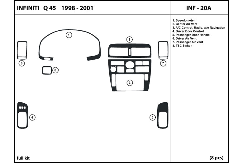 1999 Infiniti Q45 DL Auto Dash Kit Diagram