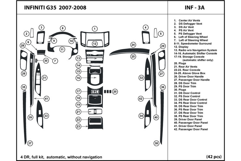 2007 Infiniti G35 DL Auto Dash Kit Diagram