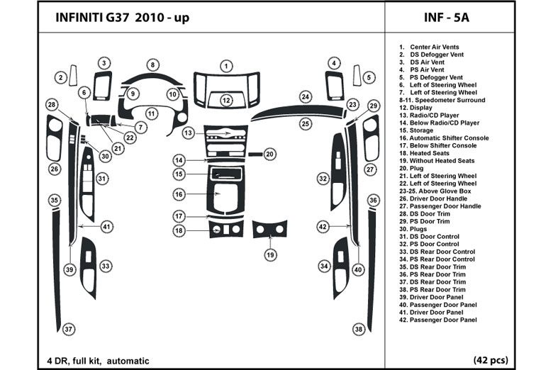 2010 Infiniti G37 DL Auto Dash Kit Diagram