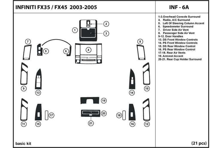 2003 Infiniti FX45 DL Auto Dash Kit Diagram