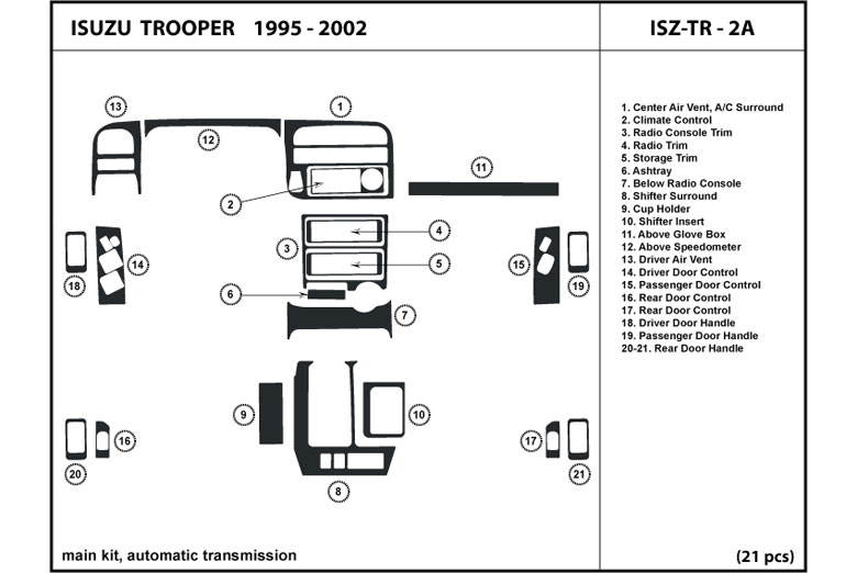 2000 Isuzu Trooper DL Auto Dash Kit Diagram