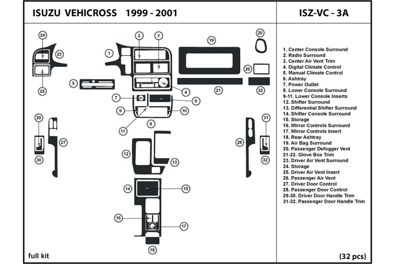 1999 Isuzu VehiCROSS DL Auto Dash Kit Diagram