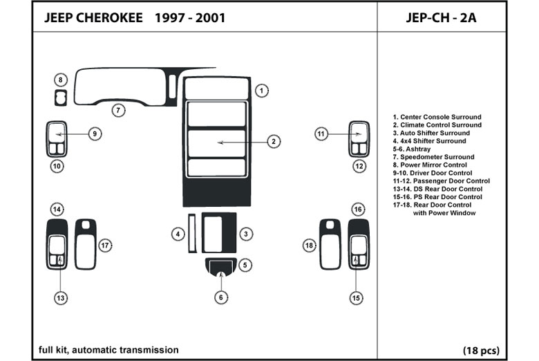 2000 Jeep Cherokee DL Auto Dash Kit Diagram