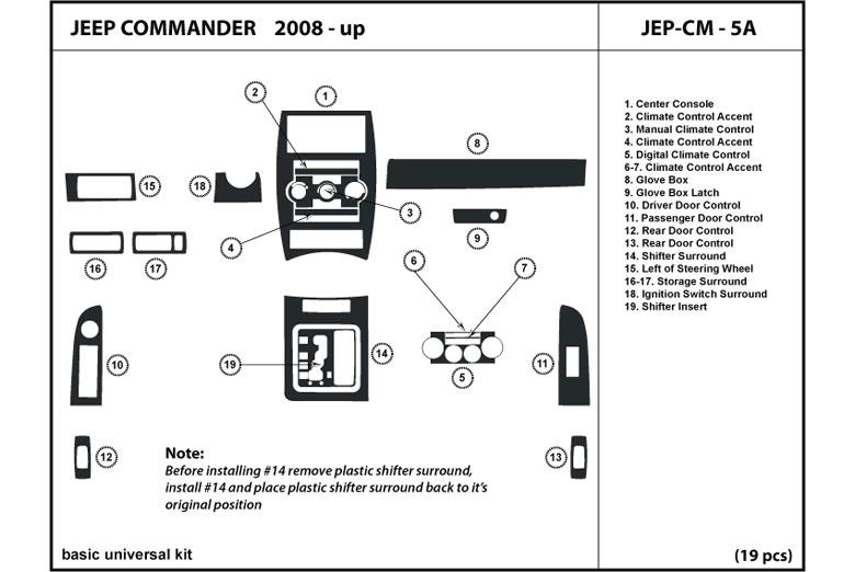 2009 Jeep Commander DL Auto Dash Kit Diagram