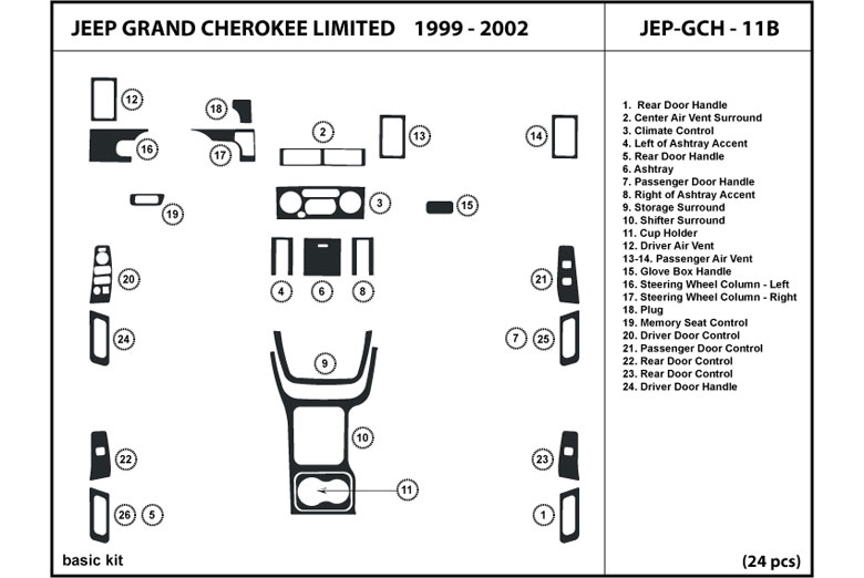 2000 Jeep Grand Cherokee DL Auto Dash Kit Diagram