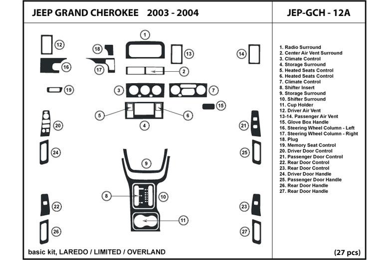 2004    Jeep       Grand       Cherokee    Dash Kits   Custom 2004    Jeep