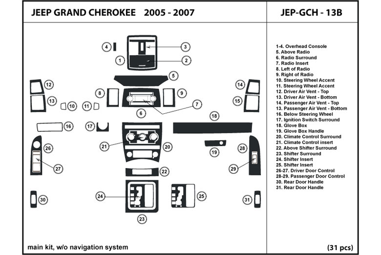 2005 Jeep Grand Cherokee DL Auto Dash Kit Diagram