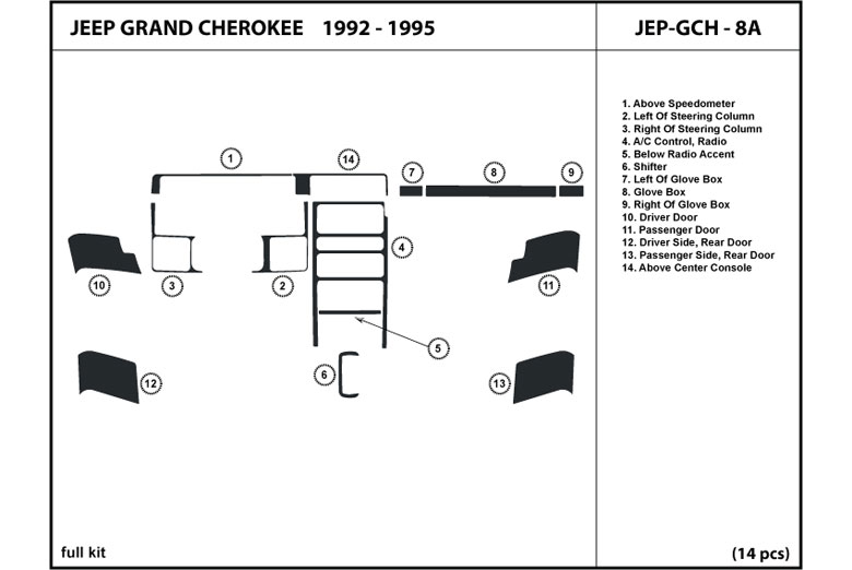 1994 Jeep Grand Cherokee DL Auto Dash Kit Diagram