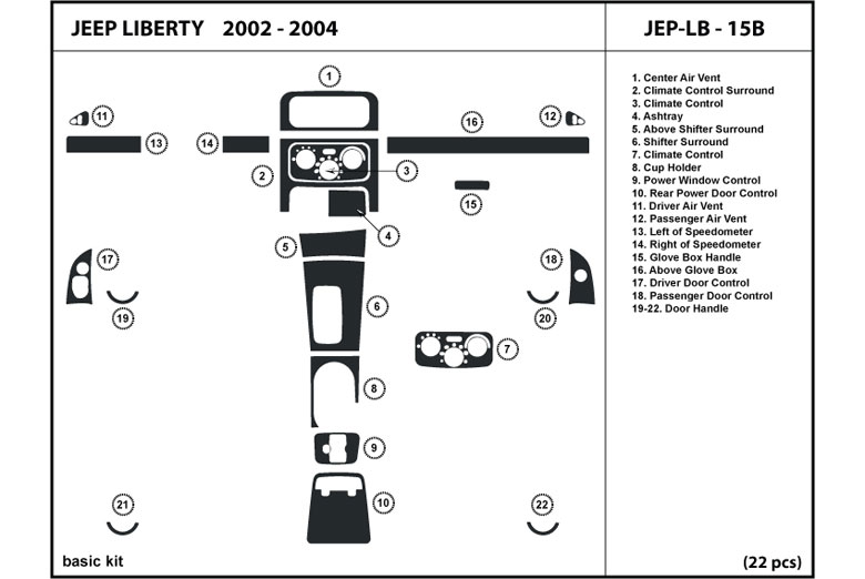 2002 Jeep Liberty DL Auto Dash Kit Diagram