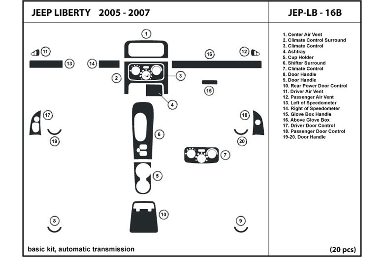 2005 Jeep Liberty DL Auto Dash Kit Diagram