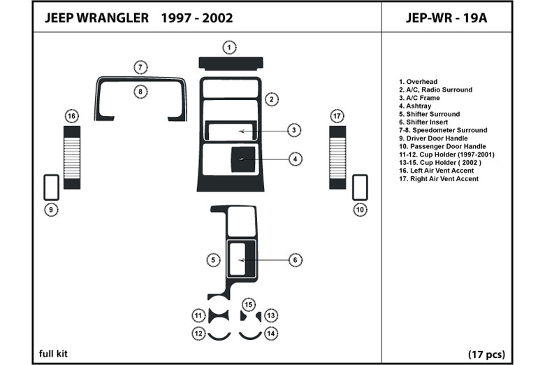 2000 Jeep Wrangler DL Auto Dash Kit Diagram