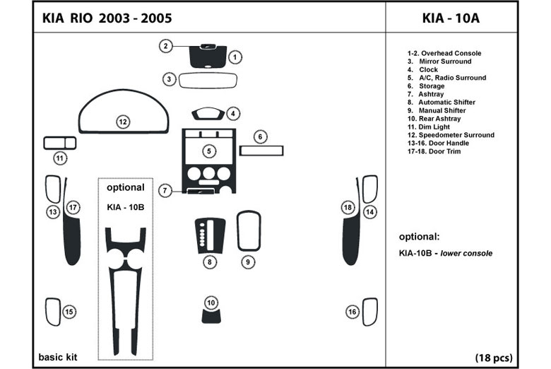 2003 Kia Rio DL Auto Dash Kit Diagram
