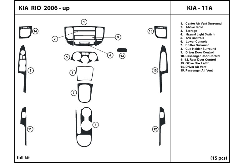 2006 Kia Rio DL Auto Dash Kit Diagram