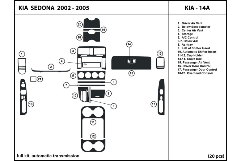 2005 Kia Sedona DL Auto Dash Kit Diagram